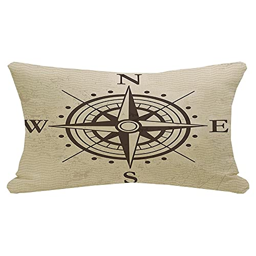Decorative Rectangle Throw Pillow Cover Linen Wind Direction Rose Travel Geography East Map Signs Symbols Meridian Treasure Vintage Round Arrow Lumbar Pillow Case for Couch Sofa Chair 12x20 Inch
