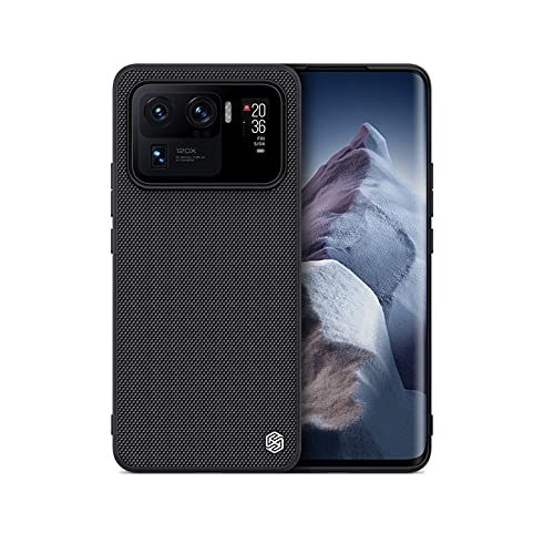 qichenlu 【Textured Armor Shield Schwarz 3D Strukturiert Hybrid Hülle für Mi 11 Ultra,Nylonfaser Rückseite Silikon Rand Schutz Handyschale Back Cover Case für Xiaomi Mi 11 Ultra