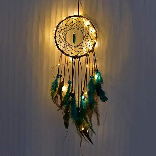 New Feather Dream Catcher Mandala Led-Batterie Usb Schlafzimmer Nachtlicht Vibe Style Handmade Dream Catcher Wohnkultur Drop Ship-With Led_China