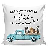 Fundas de almohada decorativas, diseño vintage de girasoles de camión con lindos perros, ultra suave, funda de cojín cuadrada cómoda para sofá dormitorio, 45,72 x 45,72 cm