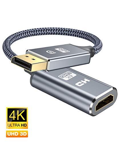 4K DisplayPort auf HDMI Adapter-DP zu HDMI Adapter Unterstützung (3840x2160@30Hz) Nylon geflochten DisplayPort auf HDMI Konverter kompatibel mitHP, HDTV,ThinkPad,Monitor,Projektor,Desktop-Grau