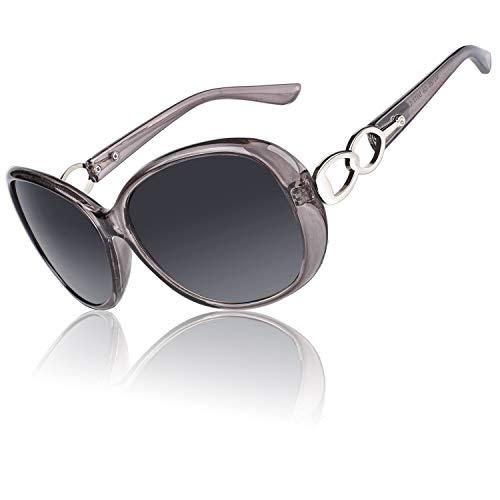 CGID Damen Sonnenbrille Polarisiert Retro Großer Rahmen Designer Oversized Sonnen Brille Frauen UV Sonnenbrille Brille mit Strasssteinen Farbverlauf grau Gläser MJ85