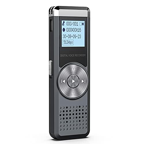 32GB Grabadora de Voz Digital, KINPEE Grabadora Audio con Reproductor de MP3, Portatil Grabadora Sonido Grabadora Estereo Grabadora para Reuniones, Musica Micrófono Incorporado, Baterías Recargables