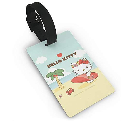 DNBCJJ Gepäckanhänger für Koffer Hello Kitty Sea Skateboard Gepäckanhänger mit Namen ID Koffer Damen Herren Kinder Reisezubehör