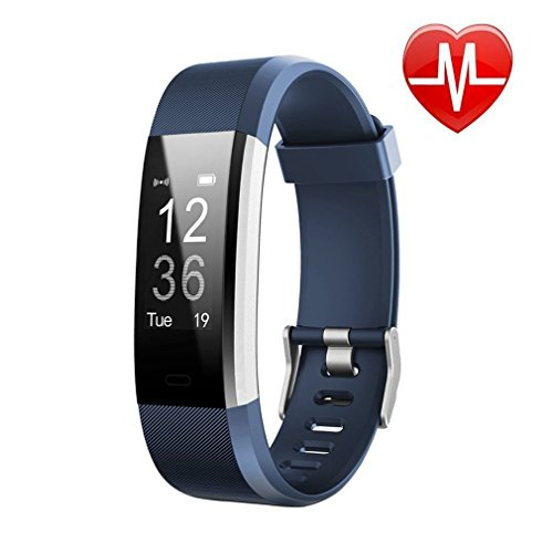 Letufit Plus Fitness Tracker + Heart Rate Monitor,IP67 Waterproof Smart Wristband Pedometer Watch Android iOS (Blue)