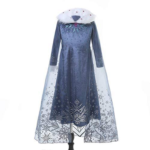 Princesa de Nieve Vestido de Elsa Girls Disfraz de Fiesta de Cosplay para niñas con Cuello de Piel de chifón, Manga Larga, Copo de Nieve, Vestido Azul de Reina