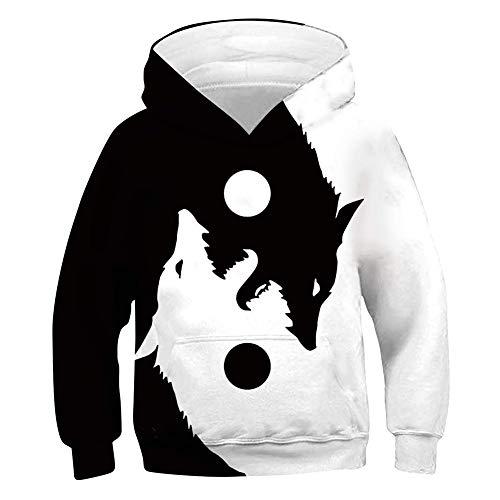 chicolife Cool Hoodies for Teen Girls Impreso en 3D Yin Yang Wolf Suéter Ligero Sudaderas de Manga Larga Jumpers Top con Capucha para la Fiesta de Navidad L