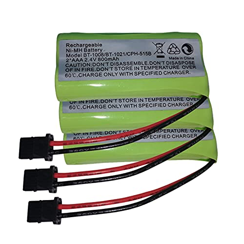 3-Pack 2.4V 2 AAA 900mAh Ni-MH Cordless Home Phone Battery for Uniden BT1008 BT-1008 BT1016 BT-1016 BT1021 BT-1021 WITH43-269 WX12077 Sanyo CAS-D6325 CASD6325 Lenmar CBBT1008 CB-BT1008