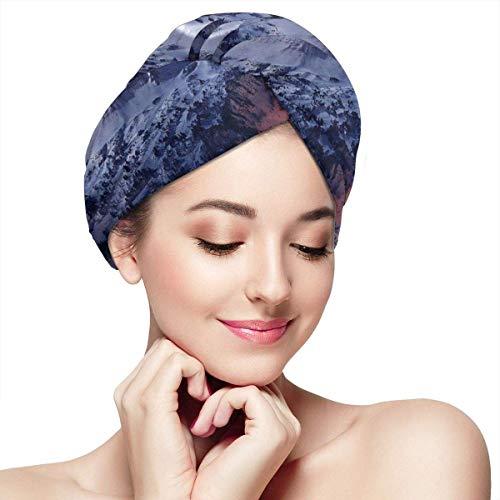 Agoyls Bonnet de Bain/Bonnet de natatio,Women's Hair Drying Towel Wrap with Button Night Sky Snow Soft Absorbent Microfiber Wrapped Bath Cap Twist for