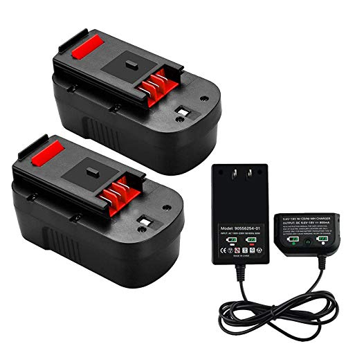 Battery and Charger, 2Pack 18 Volt 3.8Ah Replacement for Black and Decker 18V Battery Compatible with HPB18-OPE HPB18 A1718 FS18FL FSB18 Power Tools, with 9.6V-18V Multiple Volt Output Battery Charger