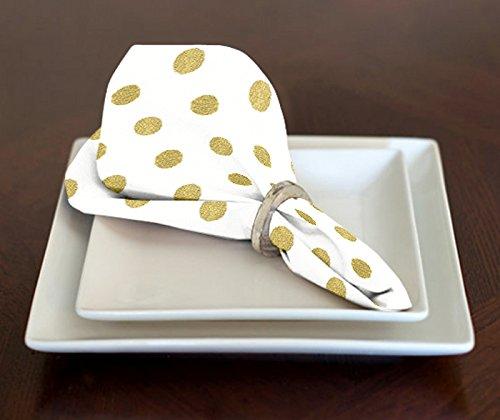 A LuxeHome bianco e oro metallizzato a pois in stile moderno, pranzo o cena tovaglioli 43,2x 43,2cm set di 4