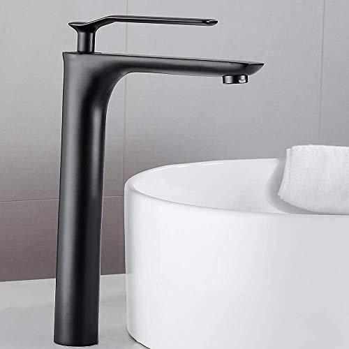 Grifos de Lavabo de Baño Caño Alto Negro Mate Monomando Mezclador Para Agua Fría y Caliente Adecuada para Cocina/Baño