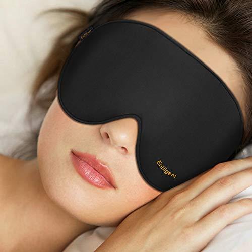 Entligent Schlafmaske Damen und Herren, [2 Stück, M + L] Augenmaske 100{c7feb70a2494a964314915373a71e72c3e5d6bd2b4ffbe12688971b9743160a0} Hautfreundlich Seide Schlafbrille, inkl. Ohrstöpseln, Ideal für Reisen und zu Hause
