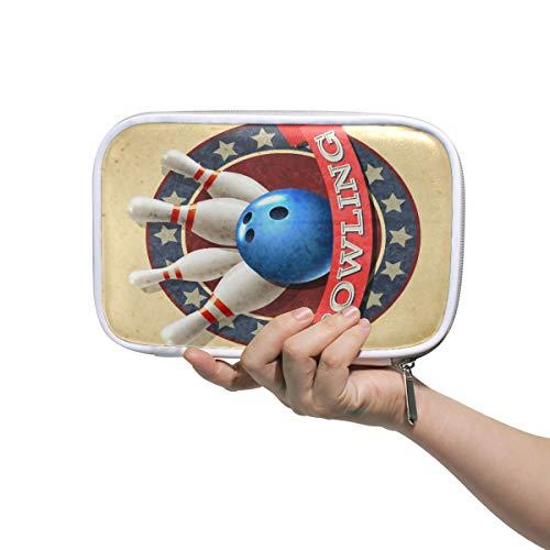 CPYang Federmäppchen/Federmäppchen, mit Reißverschluss, Bowlingkugel-Muster, Kosmetiktasche, Make-up-Pinsel, Schreibwaren, Stiftebox, Reisepass, Organizer