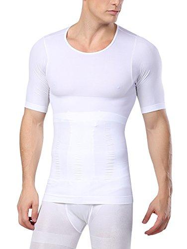 AIEOE - Camiseta Hombre Adelgazante Faja Reductora Abdominal Ropa Deportiva Transpirable Moldeadora - Blanco, L