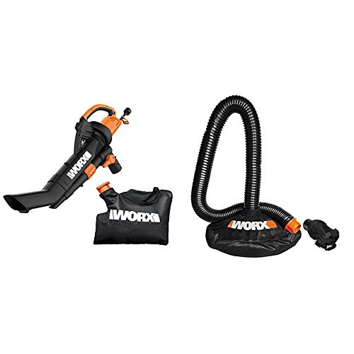 WORX WG509 TRIVAC 12 Amp 3-in-1 Electric Blower/Mulcher/Vacuum with Multi-Stage All Metal Mulching System,Black & WA4054.2 LeafPro Universal Leaf Collection System for All Major Blower/Vac Brands