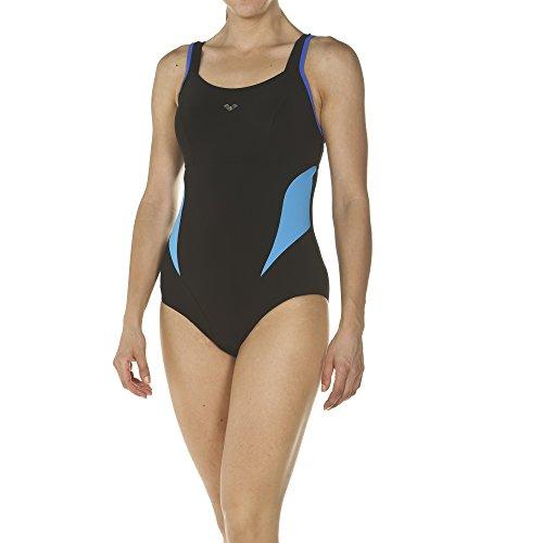 arena Damen Bodylift Badeanzug Makimurax Low C-Cup (Shapingeffekt, Figurformend, Schnelltrocknend, UV-Schutz), Black-Bright Blue-Turquoise (577), 46