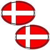 Biomar Labs 2 Stück Vinyl Dänemark Denmark Flagge Aufkleber Autoaufkleber Stickers Auto Moto Motorrad Fahrrad Helm Fenster Tuning B 193