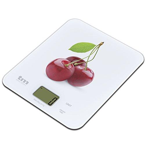 TM ELECTRON cyfrowa waga kuchenna wzór wiśni biały