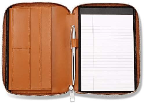 HISCOW Classy Leather Junior Zippered Portfolio with Pen Loop Italian Calfskin Premium Cognac product image