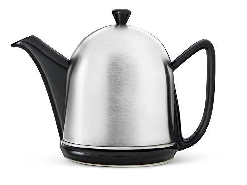 Steingut-Teekanne Cosy® Manto schwarz mit filzisoliertem Edelstahlmantel matt gebürstet 1,0 ltr.