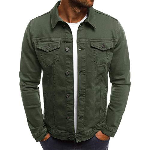 Men's Casual Button Down Denim Jacket Classic Slim Fit Jean Coat(Green,Large)