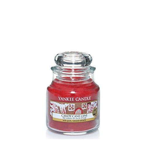 YANKEE CANDLE Candy Cane Lane Duftkerze im Glas, rot, 6 x 6 x 8.9 cm