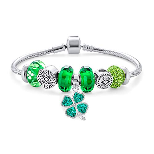 Irish Celtic Knot Lucky Kelly Green Shamrock Irish Clover Knot Claddagh Clover Themed Beads Multi Charm Bracelet For Women .925 Sterling Silver Snake Chain European Barrel Clasp Bracelets 7 Inch