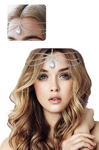 JMITHA Brautschmuck, Boho, Kopfkette, Bohemian, Hochzeit, Haarschmuck, mit Strass, Kopf-Kette für Damen (Silber)