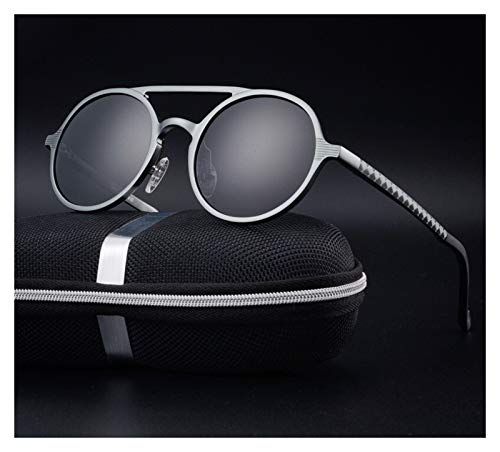 QQGGTongFeng Clásico Gafas de Sol polarizadas de Marco polarizadas de Marco de Aluminio de Hombre Retro Gafas de Sol con Estilo Retro congelado UV400 para Exterior (Lenses Color : Blue)