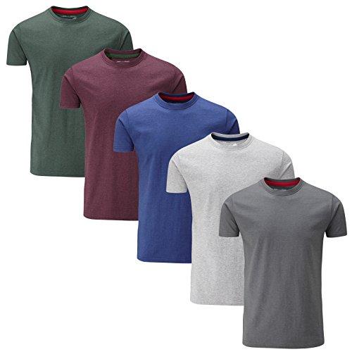 Charles Wilson Paquete 5 Camisetas Cuello Redondo Lisas (X-Large, Mixed Melange)