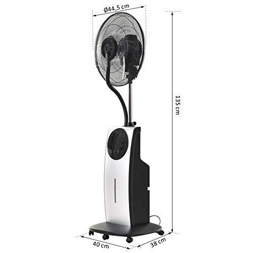 Ventilateur brumisateur sur roulettes - oscillant silencieux 90 W avec télécommande - minuterie 3 modes 3 vitesses 40L x 38l x 135H cm gris noir