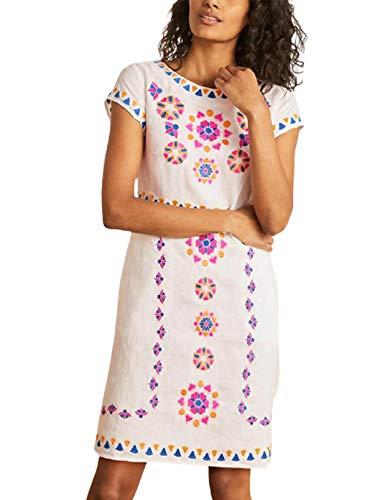Vestido de playa Boho para mujer, con bordado floral, mini vestido de manga corta, boho, para vacaciones, playa, bikini, traje de baño