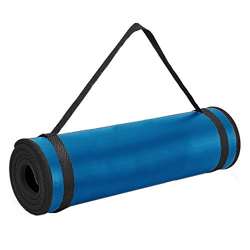 i-Heir 6 mm Thick High-Density Anti-Tear Exercise Power Yoga Mat with Stitched Edges (72x24inch,Blue)