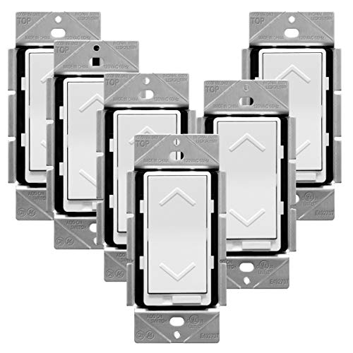 TOPGREENER Dimmer Switch, 150W Dimmable LED/CFL | 600W Incandescent and Halogen, Neutral Wire Required, Single Pole or 3 Way Switch | Electrical, 120VAC, TGDS-120, White, 6 Pack