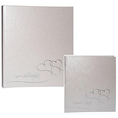 alles-meine.de GmbH 2 TLG. Set: XL Fotoalbum + Gästebuch -  unsere Silberhochzeit  - Gebunden zum Einkleben - blanko - groß für bis zu 336 Bilder - Fotobuch / Photoalbum / Hoch..