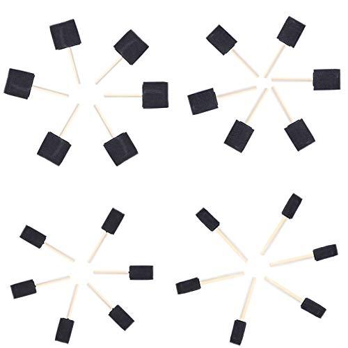 Pincel Espuma, 24Pcs Mangode Madera Pincel de Esponja Brocha de Esponja para Pintar Cepillos de Pintura para Niños Cuatro Tamaños Pincel Esponja ,para Pintar Artesanía Acrílicos Manchas Barnic