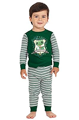 Harry Potter Slytherin House Crest Serpent Cotton Baby Pajama Gift Set, Slytherin, 12MO Green