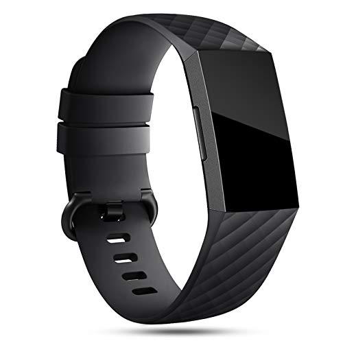 Onedream Correa Compatible para Fitbit Charge 3 Strap/Charge 4 Correa Mujer Hombre Pulsera Recambio Sport Band Negro (sin Reloj),S