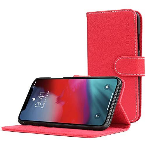 Snugg Cover iPhone XS (2018) / iPhone X (2017), Apple iPhone Flip Custodia Case [Slot per Schede] Pelle Portafoglio Progettazione Esecutiva [Garantita a Vita] - Rosso, Legacy Range
