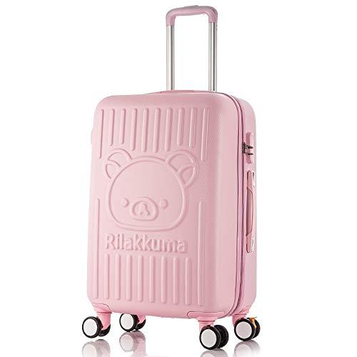 Baiteng Cartoon-Koffer Easy Bear Braun Bär Trolley Rollator Gehege Student Gepäck Password Koffer Pink 61 cm