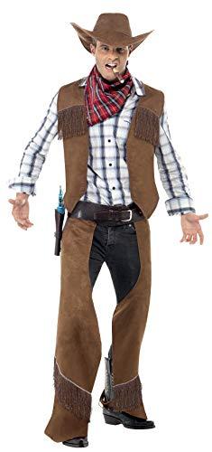 Smiffy's Costume de cowboy à franges, marron, avec gilet, jambières, tour de cou et chape,Marron, M