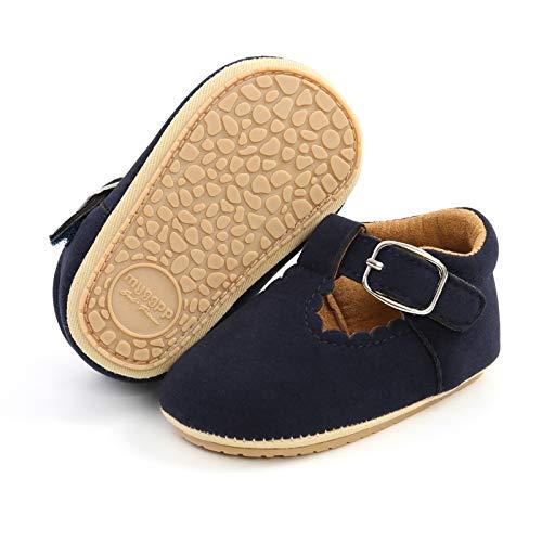Mocasines para bebé niña princesa brillante, zapatos de vestir Mary Jane Premium ligeros suela suave zapatos para cuna, azul (A1-Suede Azul)