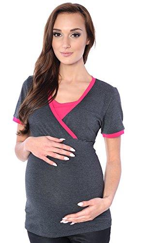 MijaCulture Moderne 2in1 Stillshirt & Umstandsshirt/Stilltop & Umstandstop 9069 (EU40 / L, Graphite/Rosa)