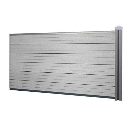 Mendler WPC-Sichtschutz Sarthe, Windschutz Zaun, WPC-Pfosten ~ Erweiterungselement niedrig, 1,88m grau
