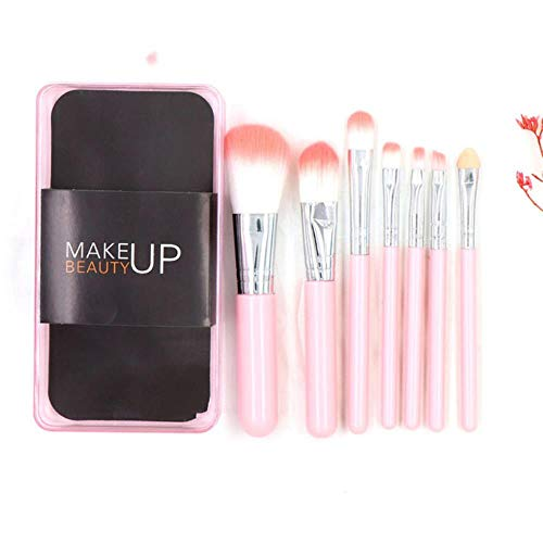 DQC 7 Makeup Brush Sets, Foundation Foundation Eyeshadow Brush with Plastic Boxed Cosmetic Beauty kit,Pink