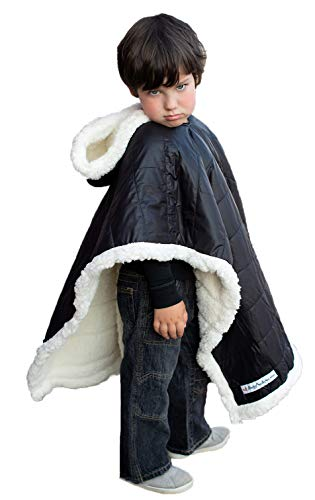 Kids Car Seat Poncho Boy Safe Coat Black Puffer Toddler Kids Down Sherpa Poofy Warm Hooded Blanket Safe Use Over Seat Belts