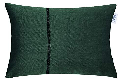 Schöner Wohnen Kollektion Deko Kissen Hülle Fringe • ohne Füllung • 2er Set Kissenbezug 38x58 grün • Deko Wohnzimmer • Sofakissen Forest • 100% Polyester