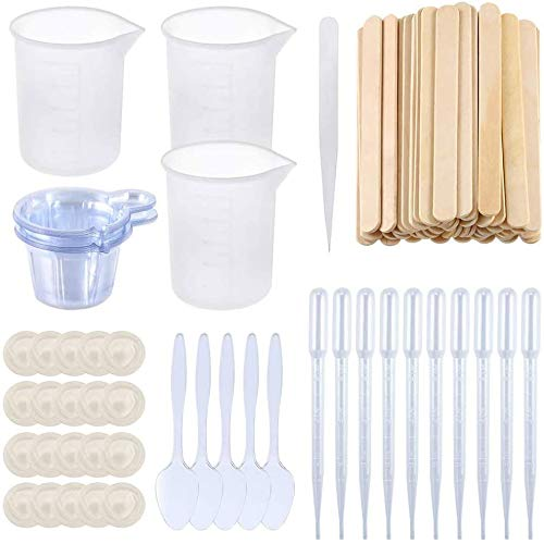 109 pcs Silicone Measuring Cups Kit for 100ml Resin Mixing Epoxy Tools Silicone Measuring Spoons, Spoons, Pipettes, Wood Mixing Sticks