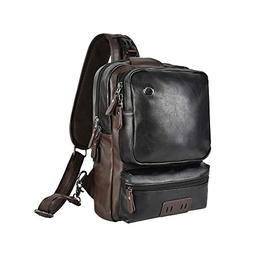 13 Inches Laptop Sling Bag PU Leather Shoulder Backpack Chest Pack Satchel Outdoor Large Capacity Cross Body Bag with USB Charging Port